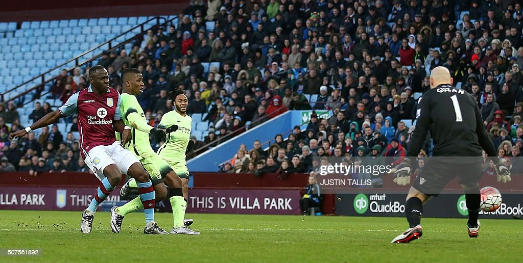 Manchester City's Nigerian striker Kelechi Iheanacho (2nd L) scores his team's third goal during the English FA Cup fourth round football match between Aston Villa and Manchester City at Villa Park in Birmingham, central England, on January 30, 2016. / AFP / JUSTIN TALLIS / RESTRICTED TO EDITORIAL USE. No use with unauthorized audio, video, data, fixture lists, club/league logos or 'live' services. Online in-match use limited to 75 images, no video emulation. No use in betting, games or single club/league/player publications. /