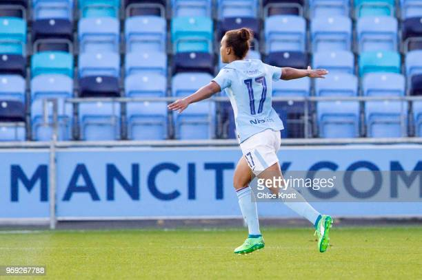 Manchester City's Nikita Parris celebrates after scoring her hat trick during the FA WSL match between Manchester City Women and Yeovil Town Ladies...