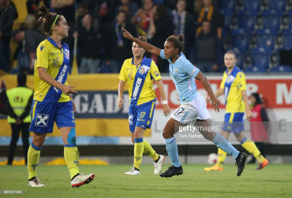 Manchester City's Nikita Parris celebrates scoring against St. Polten on October 4, 2017 in St. Poelten, Lower Austria.