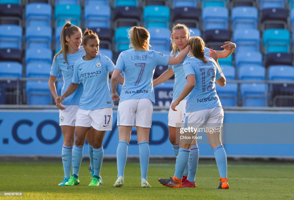 Manchester City's Nikita Parris celebrates scoring her teams second goal during the FA WSL match between Manchester City Women and Yeovil Town Ladies at The Academy Stadium on May 16, 2018 in Manchester, England.