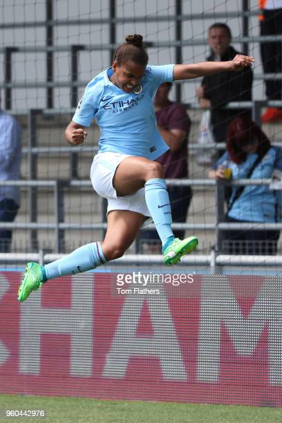 Manchester City's Nikita Parris celebrates scoring to make it 20 during the WSL match between Manchester City Women and Everton Ladies at The Academy...