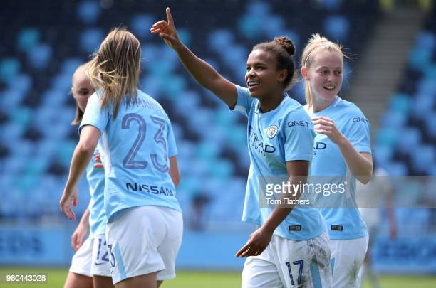 Manchester City's Nikita Parris celebrates scoring to make it 20 with her teammates during the WSL match between Manchester City Women and Everton...
