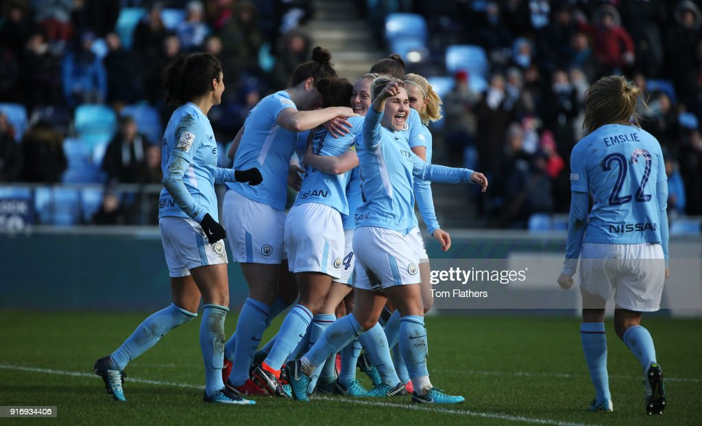 Manchester City's Nikita Parris celebrates scoring to make it 3-0 with her teammates at the Academy Stadium during the FA WSL 1 match between Manchester City Women and Liverpool Ladies on February 11, 2018 in Manchester, England.