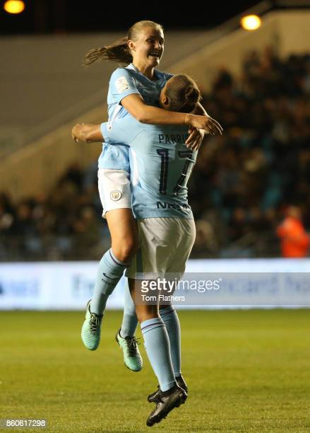 Manchester City's Nikita Parris celebrates scoring with Georgia Stanway during the UEFA Women's Champions League match between Manchester City Ladies...