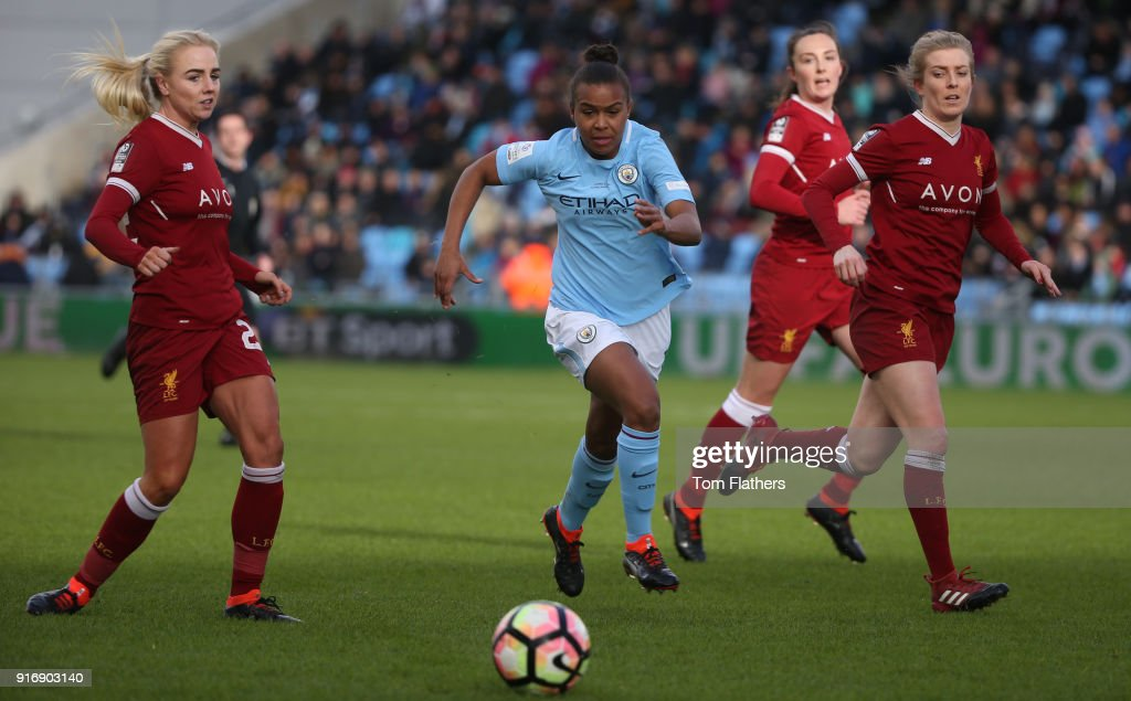 Manchester City's Nikita Parris in action at the Academy Stadium during the FA WSL 1 match between Manchester City Women and Liverpool Ladies on February 11, 2018 in Manchester, England.