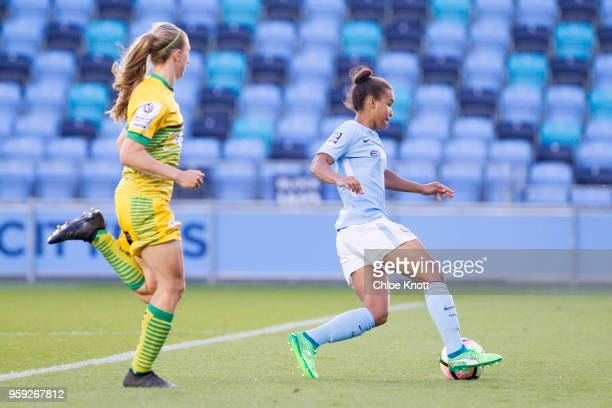 Manchester City's Nikita Parris in action during the FA WSL match between Manchester City Women and Yeovil Town Ladies at The Academy Stadium on May...