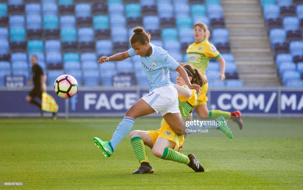 Manchester City's Nikita Parris in action during the FA WSL match between Manchester City Women and Yeovil Town Ladies at The Academy Stadium on May 16, 2018 in Manchester, England.