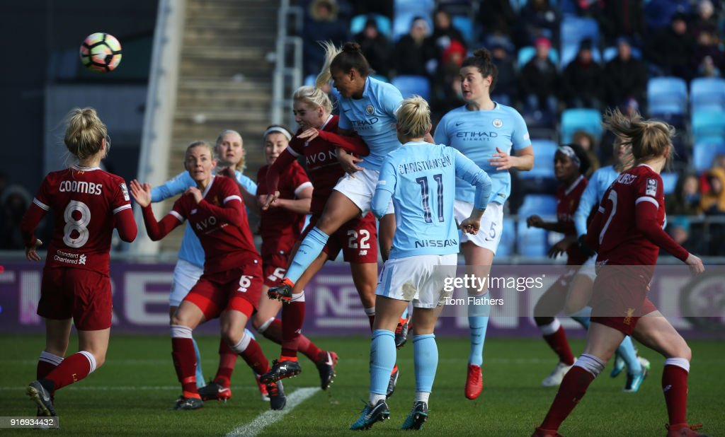 Manchester City's Nikita Parris scores to make it 3-0 at the Academy Stadium during the FA WSL 1 match between Manchester City Women and Liverpool Ladies on February 11, 2018 in Manchester, England.