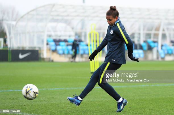 Manchester City's Nikita Parris shoots during the training session at Manchester City Football Academy on November 20 2018 in Manchester England