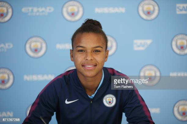 Manchester City's Nikita Parris signs a contract extension at Manchester City Football Academy on November 6 2017 in Manchester England