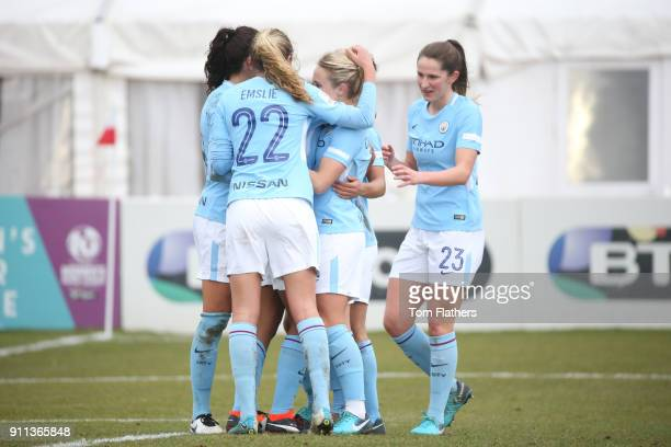 Manchester City's Nikta Parris celebrates scoring to make it 01 during the WSL match between Sunderland AFC Ladies and Manchester City Women on...