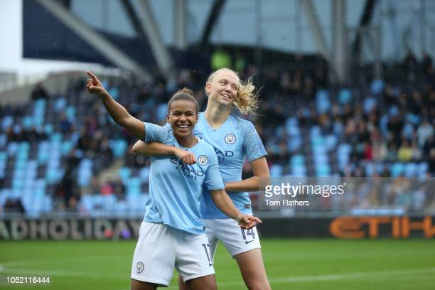 Manchester City's Nikta Parris celebrates scoring with Esme Morgan during the WLS 1 match between Manchester City Women FC and West Ham United Women...