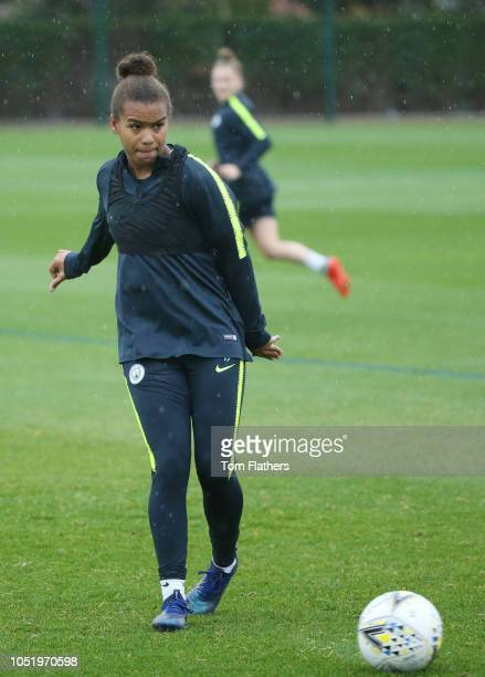 Manchester City's Nikta Parris in action during training at Manchester City Football Academy on October 12 2018 in Manchester England