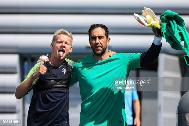Manchester City's Oleksandr Zinchenko and Claudio Bravo during training at Manchester City Football Academy on July 10 2018 in Manchester England