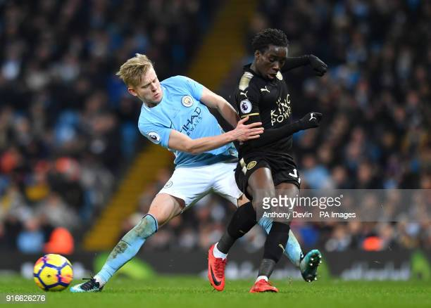Manchester City's Oleksandr Zinchenko and Leicester City's Fousseni Diabate battle for the ball during the Premier League match at the Etihad Stadium...