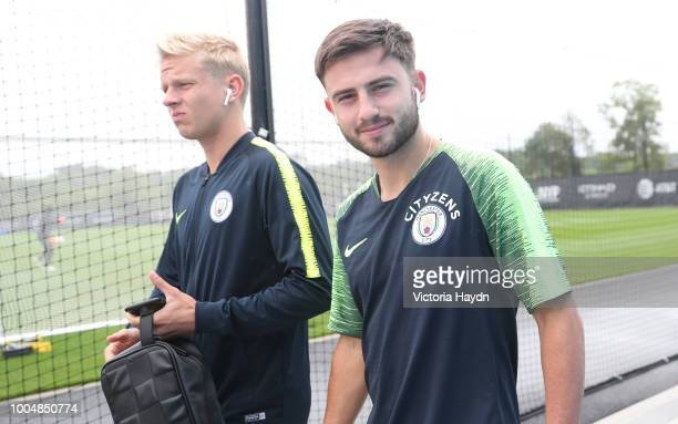 Manchester City's Oleksandr Zinchenko and Patrick Roberts during training at New York City FC's training complex on July 23 2018 in New York City