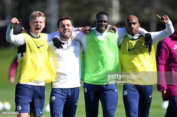 Manchester City's Oleksandr Zinchenko Bernardo Silva Benjamin Mendy and Fabian Delph during the training session at Manchester City Football Academy...