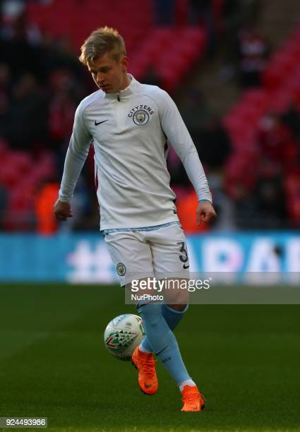 Manchester City's Oleksandr Zinchenko during the prematch warmup during Carabao Cup Final match between Arsenal against Manchester City at Wembley...