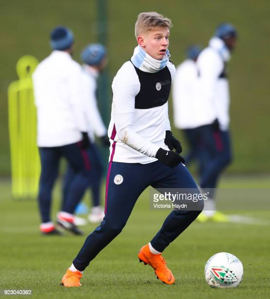 Manchester City's Oleksandr Zinchenko during training at Manchester City Football Academy on February 22 2018 in Manchester England