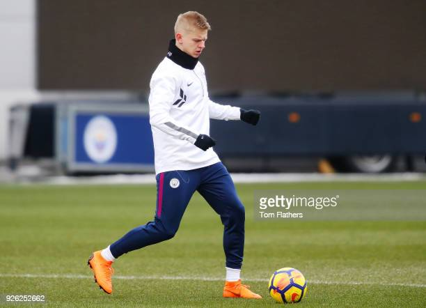 Manchester City's Oleksandr Zinchenko during training at Manchester City Football Academy on March 2 2018 in Manchester England