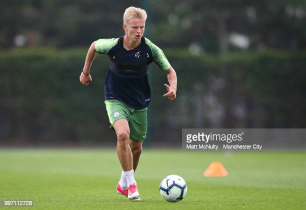 Manchester City's Oleksandr Zinchenko during training at Manchester City Football Academy on July 12 2018 in Manchester England