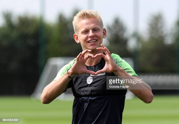 Manchester City's Oleksandr Zinchenko gestures during training at Manchester City Football Academy on July 6 2018 in Manchester England