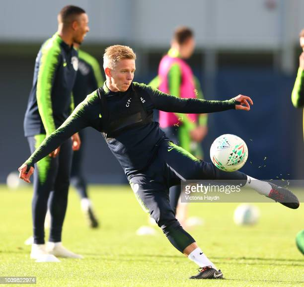 Manchester City's Oleksandr Zinchenko in action at Manchester City Football Academy on September 24 2018 in Manchester England