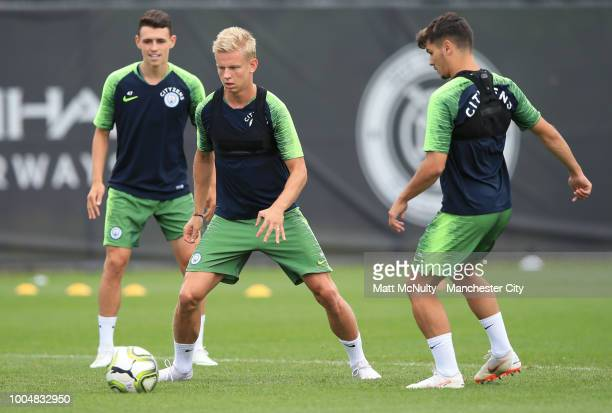 Manchester City's Oleksandr Zinchenko in action during training at New York City FC's training facility on July 23 2018 in New York City