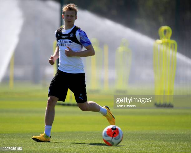 Manchester City's Olkesandr Zinchenlo in action during training at Manchester City Football Academy on May 25 2020 in Manchester England