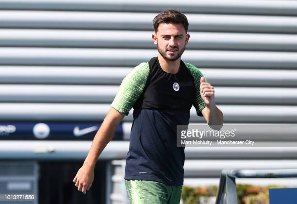 Manchester City's Patrick Roberts gestures during training at Manchester City Football Academy on August 8 2018 in Manchester England