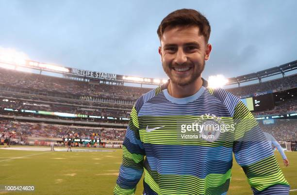 Manchester City's Patrick Roberts in action at MetLife Stadium on July 25 2018 in East Rutherford New Jersey