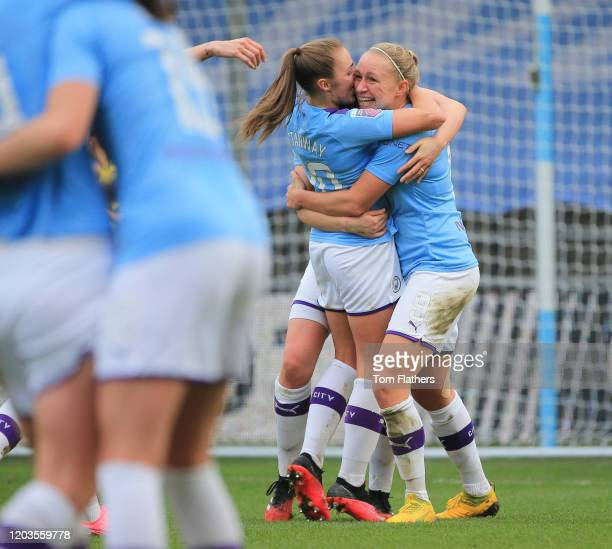 Manchester City's Pauline Bremer celebrates scoring with Georgia Stanway during the Barclays FA Women's Super League match between Manchester City...