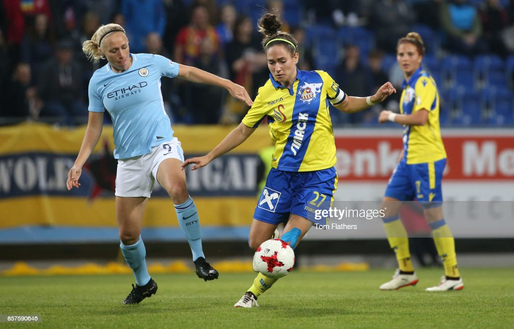Manchester City's Pauline Bremer in action against St. Polten on October 4, 2017 in St. Poelten, Lower Austria.