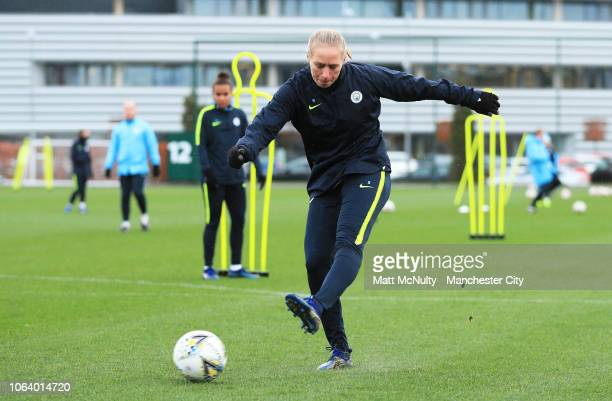 Manchester City's Pauline Bremer shoots during the training session at Manchester City Football Academy on November 20 2018 in Manchester England