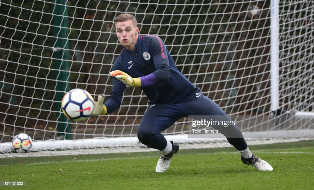 Manchester City's Pawel Sokol during training at Manchester City Football Academy on November 14, 2017 in Manchester, England.