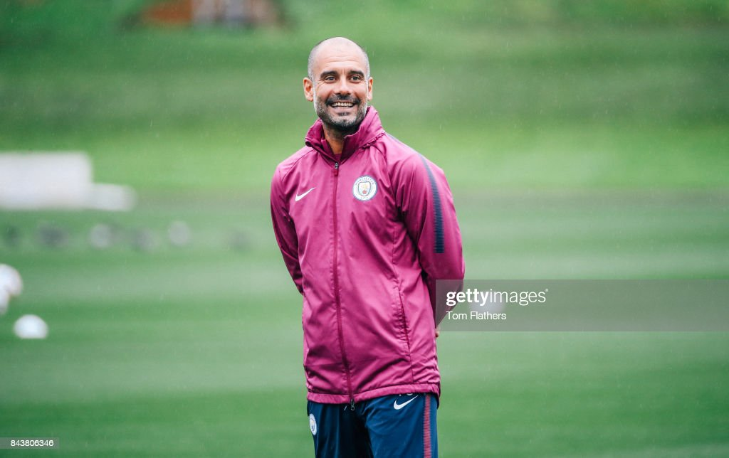 Manchester City's Pep Guardiola during training at Manchester City Football Academy on September 7, 2017 in Manchester, England.