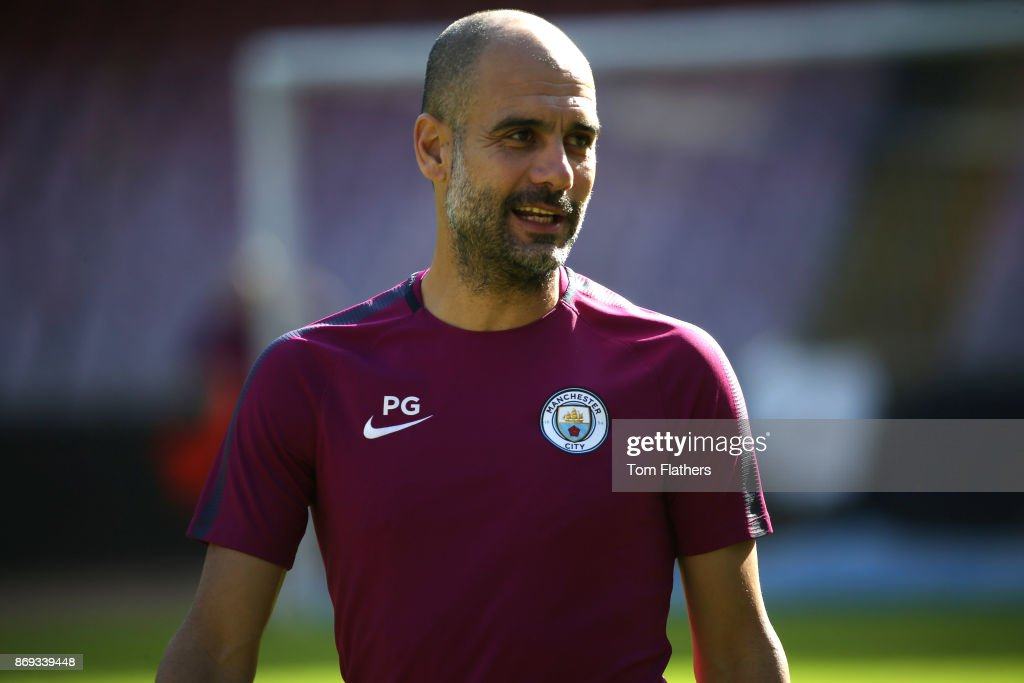 Manchester City's Pep Guardiola during training at Stadio San Paolo on November 2, 2017 in Naples, Italy.