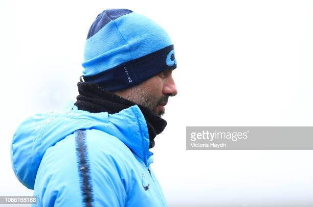 Manchester City's Pep Guardiola in action during training at Manchester City Football Academy on January 22 2019 in Manchester England