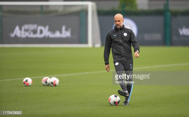 Manchester City's Pep Guardiola in action during training at Manchester City Football Academy on September 09 2019 in Manchester England