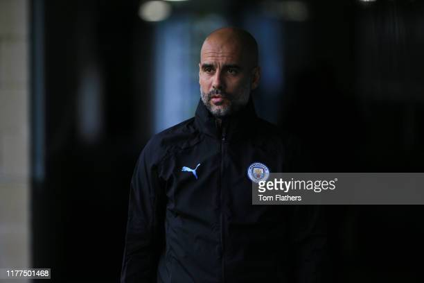 Manchester City's Pep Guardiola in action during training at Manchester City Football Academy on September 27 2019 in Manchester England