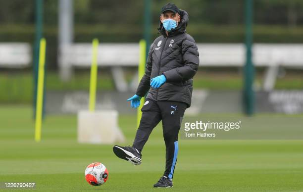 Manchester City's Pep Guardiola in action during training at Manchester City Football Academy on May 24 2020 in Manchester England