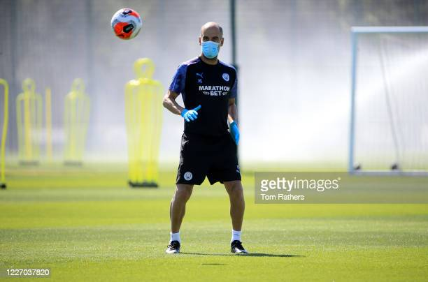 Manchester City's Pep Guardiola in action during training at Manchester City Football Academy on May 25 2020 in Manchester England