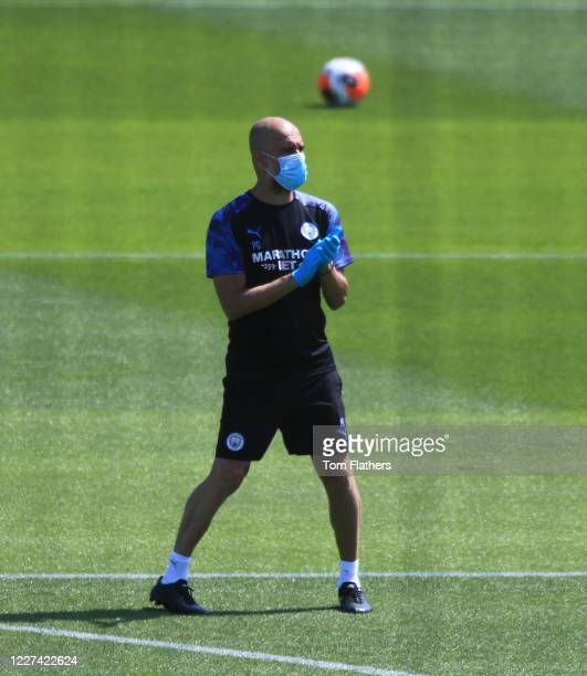 Manchester City's Pep Guardiola in action during training at Manchester City Football Academy on May 27 2020 in Manchester England