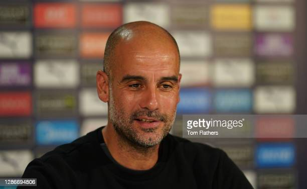 Manchester City's Pep Guardiola speaks during a press conference at Manchester City Football Academy on November 20, 2020 in Manchester, England.