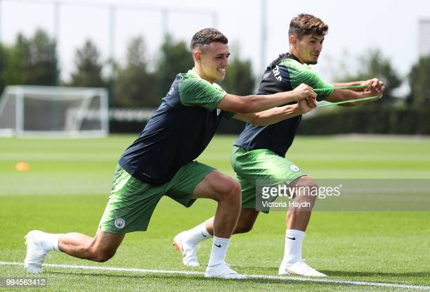 Manchester City's Phil Foden and Brahim Diaz during training at Manchester City Football Academy on July 6 2018 in Manchester England