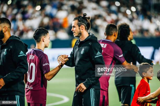 Manchester City's Phil Foden and Real Madrid's Gareth Bale prior to the match at the Los Angeles Memorial Coliseum on July 26 2017 in Los Angeles...