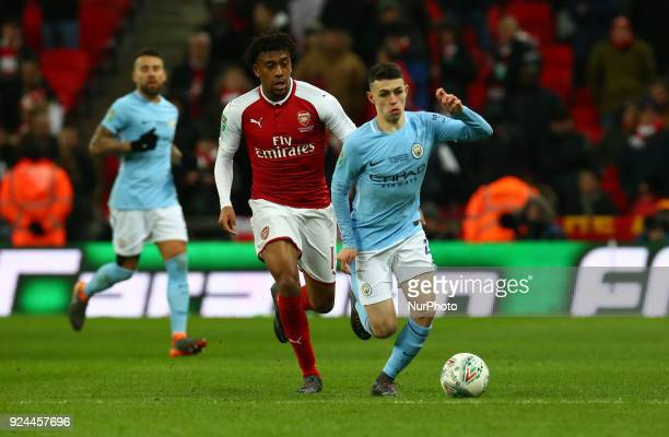 Manchester City's Phil Foden during Carabao Cup Final match between Arsenal against Manchester City at Wembley stadium London England on 25 Feb 2018