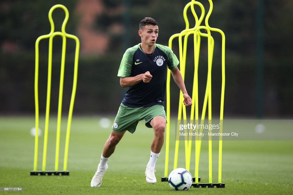 Manchester City's Phil Foden during training at Manchester City Football Academy on July 12, 2018 in Manchester, England.