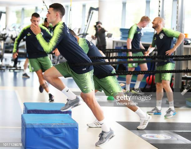 Manchester City's Phil Foden during training in the gym at Manchester City Football Academy on August 15 2018 in Manchester England