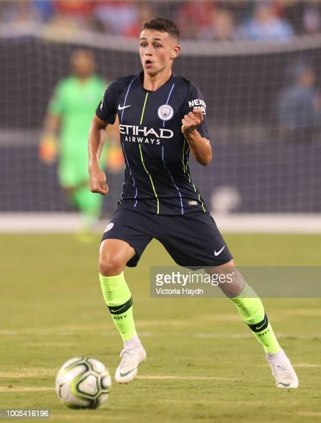 Manchester City's Phil Foden in action at MetLife Stadium on July 25 2018 in East Rutherford New Jersey